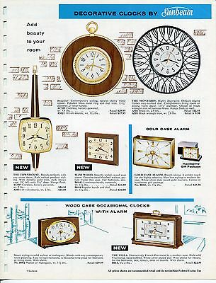 Vintage SUNBEAM Sales Sheet: CLOCKS