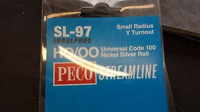 OO Model Railway Peco SL-97 Y Turnout Point Nickel Silver Rail Boxed