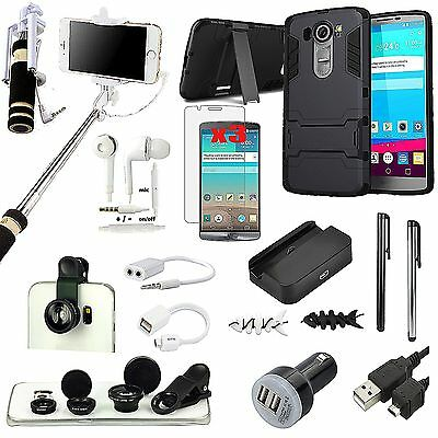 Black Kickstand Case Cover Charger Fish Eye Monopod Accessory Bundle For LG G4