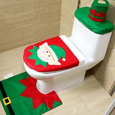 Christmas Xmas Decoration Elf Toilet Seat Cover, Rug & Tissue Box Cover Set