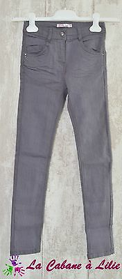 ♥ Jeans Slim Gris Taille Ajustable GEMO 10 Ans ♥ N383