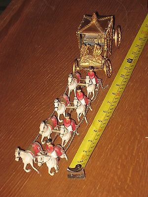 Queen  Elizabeth II Coronation Carriage Set with  Horses Vintage 50'S COLLECTOR