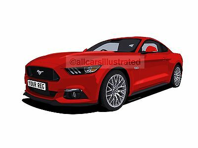 Ford Mustang Car Art Print (Size A3). Personalise It!