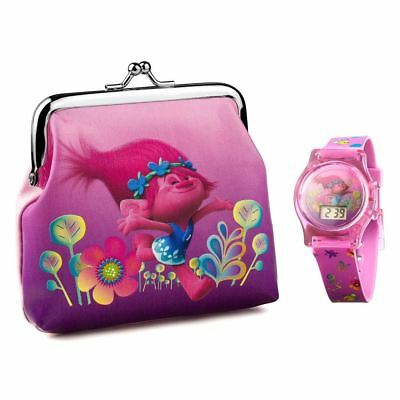 Official Dreamworks Trolls LCD Watch and Purse Gift Set - Girls Stocking Filler