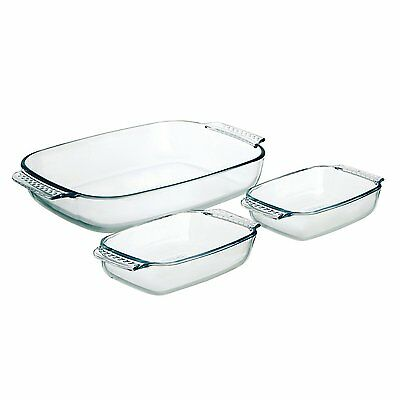 Pyrex 3 Piece Glass Dishes Roaster Set-Durable & Easy Clean