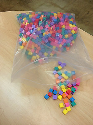 Centimeter cubes- bag of 1000 in 7 bright colors- 75% off retail