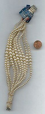 "6 VINTAGE JAPAN TORII BRAND GLASS PEARL 3mm.-7.5mm. GRADUATED 10"" STRANDS B193"