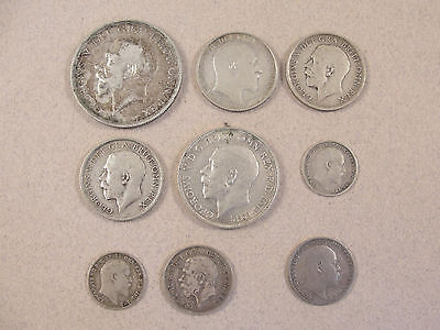 Mixed Lot English Sterling Silver COINS. 1902 - 1918
