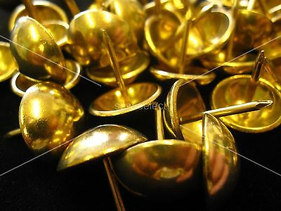 250 LARGE 19mm Solid Brass NON RUST UPHOLSTERY NAILS - Furniture tacks studs