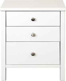Stockholm White 3 Drawer Bedroom Solid Spacious Furniture Bedside Cabinet