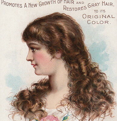 Dr Ayers Hair Vigor Baldness Cure Remedy Victorian Lady Advertising Trade Card
