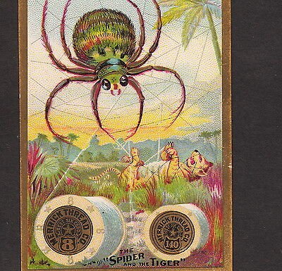 1800's Spider and the Tiger Fable Merrick Sewing Thread Advertising Trade Card