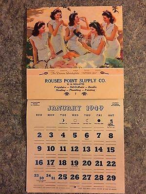 Vintage 1949 Calender Rouses Point Supply New York Ny  Hardware Advertising