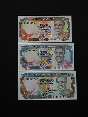Zambia  Banknotes   -   Brilliant Set Of Three Notes  -  Date 1990     Mint Unc