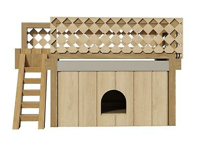 Dog House Plans w/ Roof Deck DIY Medium Outdoor Wooden Pet Home Kennel Shelter