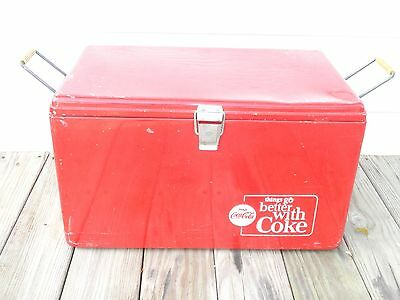 Vintage Metal Coca Cola Chest Cooler With Side Bottle Openers & Drain Plug
