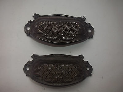 "2 Antique Cast Iron Cup Pulls Eastlake Bin Drawer Handle Victorian 3 1/2"" w"