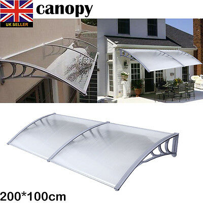 White PC Canopy Window Door Awning Shelter Outdoor Shade Cover 200*100cm