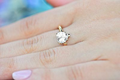 1.4ct Brilliant Heart Cut Solitaire Ring Solid 14k YellowGold Engagement/Wedding