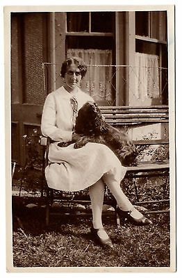 Seated Lady  With Her Cocker Or  Field Spaniel Old Vintage  Real Photo Postcard