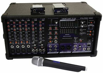 VocoPro PA-PRO-900-1 900w 6-Channel Powered Karaoke Mixer+SDR-3 Recorder+UHF Mic