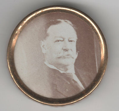 Wm. H. TAFT Sepia Photo under Glass Portrait Stick Pin * AS IS * No Pin On Rev.