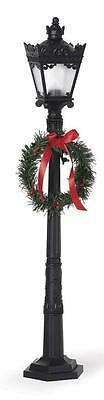 "NEW Four Sided Black Christmas Street Light Lamp post 26"" Tall REALLY WORKS"