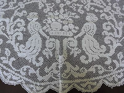 Beautiful Vintage Handmade Cotton Crochet  Round Filet Lace Tablecloth
