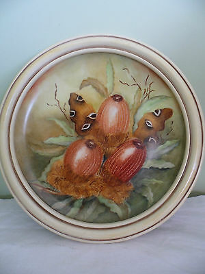 Vintage Artist Hand Painted Framed Wall Plate Picture Wa Native Banksia Flowers