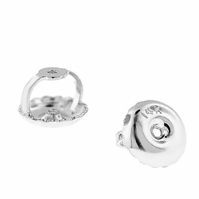 1 Pair Solid 14K White Gold Replacement Screw on Screw Earnut Earring Back