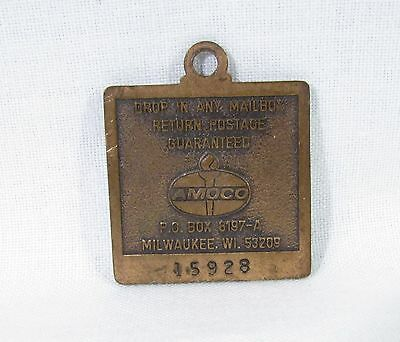 Copper Keychain Fob with Amoco Logo and Liberty Bell 1876-1976