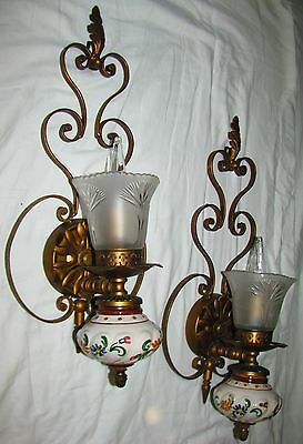 2 Vtg Italian Italy Wall Steel Porcelian Sconces Chandelier Fixture Glass Shades
