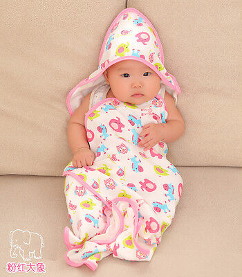 Soft Snug Baby Hooded Bath Towel Kids Boys Girl Cape Poncho Cotton Bathrobe Pink
