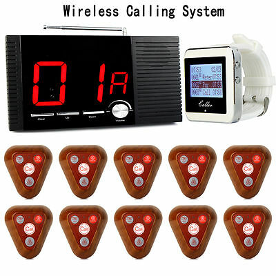 433MHZ Wireless Calling System Host +Watch Receiver +10XTransmitter Button NewES
