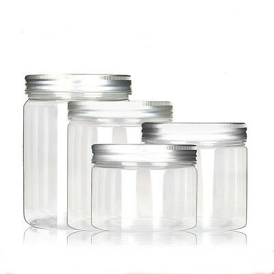 25g 30g 40g 50g  New Empty PET Jars Aluminum Lids Clear Silver Plastic Cosmetic