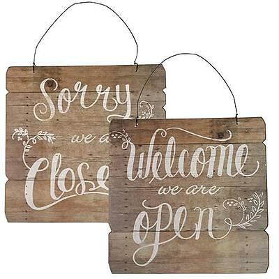 Welcome Sign, Large Reversible Open & Closed Distressed Wood, Cafe / Shop / Bar