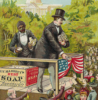 1800s Democrat Presidential Election Cleveland Babbitts Soap Black Ad Trade Card