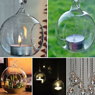 Glass Round Hanging Candle Tea Light Holder Candlestick Party Bar Home Decor x1