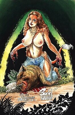 "CAVEWOMAN BUDD ROOT - Fully Original Color Pinup/Future Cover - ""Lioness"""