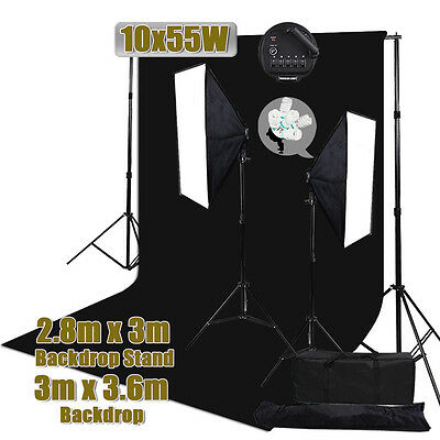 Photo Studio Muslin Backdrop Softbox Continuous Lighting Background Stand Kit AU