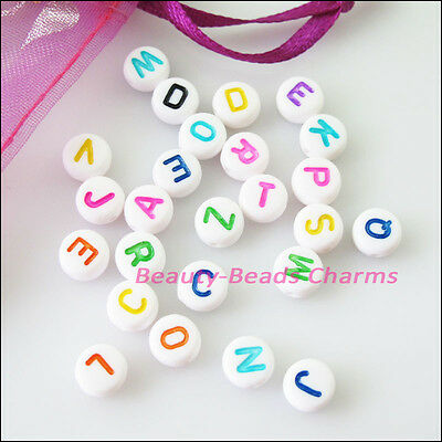 80Pcs White Acrylic Plastic Mixed Letters Spacer Beads Charms 7mm