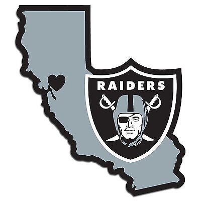 oakland raiders nfl state shape logo with heart vinyl decal