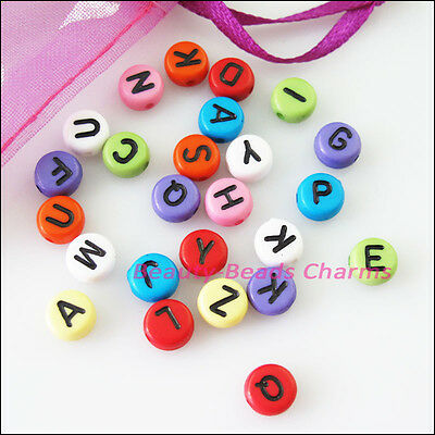 80Pcs Mixed Acrylic Plastic Black Letters Spacer Beads Charms 7mm