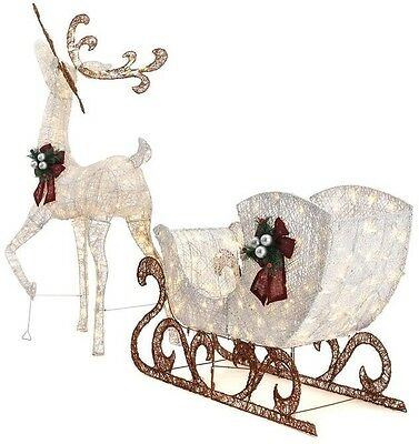 Christmas Lawn Decoration LED Lighted Reindeer Sleigh Holiday Yard Accent
