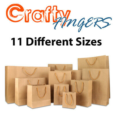 50 BULK BROWN KRAFT CRAFT PAPER GIFT CARRY BAGS WITH HANDLES Various size