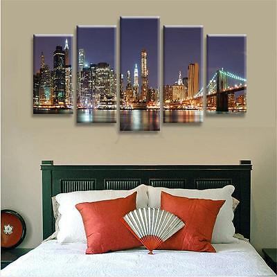 5 Panels Brooklyn Bridge Canvas Print Wall Art Oil Painting Picture Home Decor