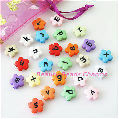 30Pcs Mixed Acrylic Plastic Star Flower Letters Spacer Beads Charms 12mm