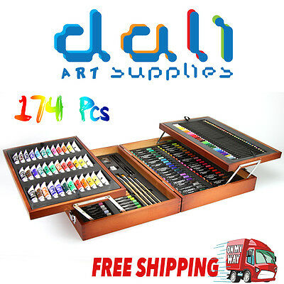 Complete Art Set Drawing Painting 174pc Pieces Wooden Case