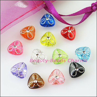 80Pcs Mixed Acrylic Plastic Tiny Heart Spacer Beads Charms 9mm