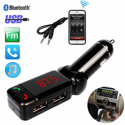 UK Wireless Bluetooth Car Kit FM Transmitter MP3 USB LCD Handsfree Mobile Phone